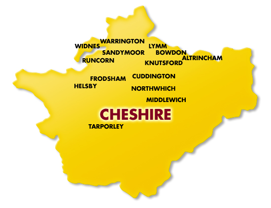 cheshire map electricians electrical warrington